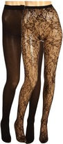 Betsey Johnson 2 Pack Lilypad Net Solid Tight (Black) - Hosiery