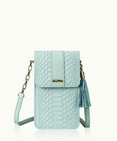 GiGi New York Penny Phone Crossbody Bag Azure Embossed Python