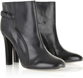 Braid-detail leather ankle boots