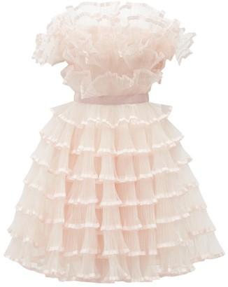 Giambattista Valli Off-the-shoulder Ruffled Tulle Plisse Dress - Light Pink