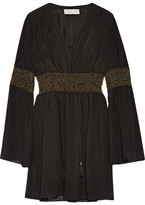 Rachel Zoe Laurel Embellished Crinkled Silk-chiffon Mini Dress - Black