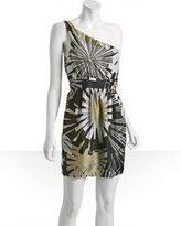 Haven Girl dark grey floral silk 'Nice' one shoulder dress