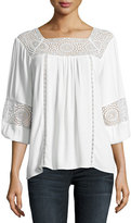 Joie Bellange 3/4-Sleeve Lace Top, White