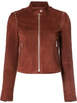 Theory band collar leather jacket