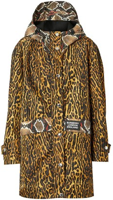 Burberry Animal Print Hooded Coat