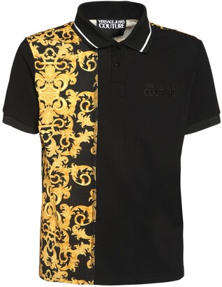 Versace Jeans Couture Two Tone Logo Cotton Polo