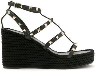 Valentino Rockstud strappy wedge sandals