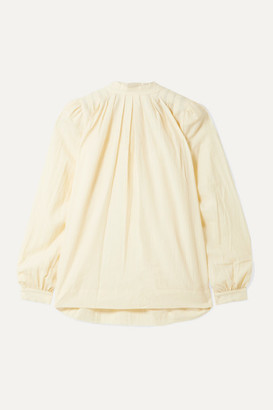 Hatch The Athena Pleated Cotton And Wool-blend Voile Blouse - Ivory