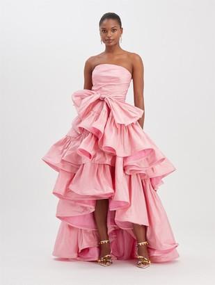Oscar de la Renta Begonia taffeta strapless ruffle gown