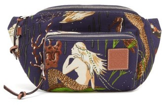 Loewe Paula's Ibiza - Mermaid-print Canvas Belt Bag - Blue Multi