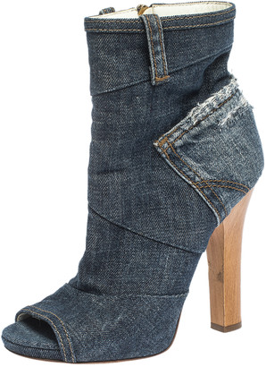 Dolce & Gabbana Blue Distressed Denim Open Toe Ankle Boots Size 37