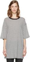 R 13 White Striped Boyfriend T-Shirt