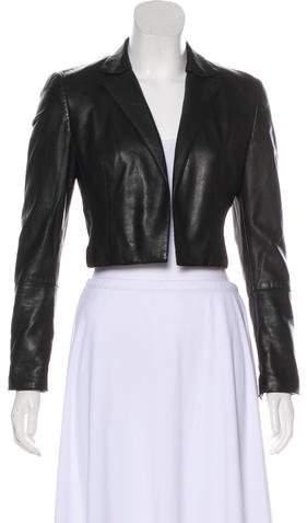 Akris Leather Open Front Jacket
