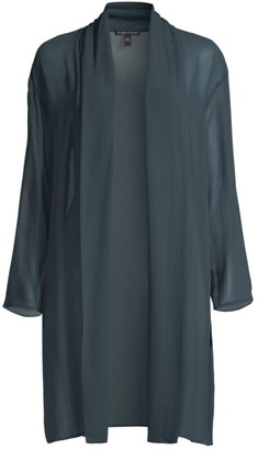 Eileen Fisher High Collar Draped Silk Jacket