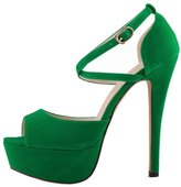 Katypeny Womens Classic Buckle Ankle Strap Open Toe Stability High Heel Pump Platform Sandals Suede 6 M US