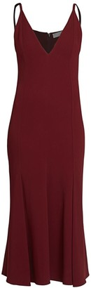 Victoria Beckham Cami V-Neck Flare Midi Dress