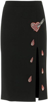 Moschino Heart Patch Midi Skirt