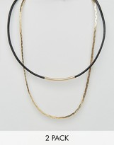 DesignB London DesignB Choker & Chain Necklaces In 2 Pack Excluisve To ASOS