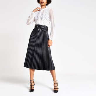 River Island Womens Black pleated faux leather midi skirt