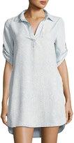 Chelsea & Theodore Snake-Print Tab-Sleeve Shirtdress, Multi