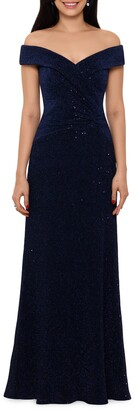 Xscape Evenings Off the Shoulder Sequin Gown
