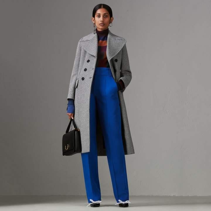 Burberry Herringbone Wool Blend Tailored Coat , Size: 06