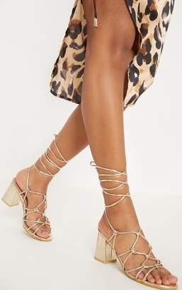 PrettyLittleThing Gold Block Heel Leg Tie Sandal
