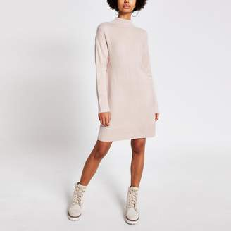 River Island Womens Pink high neck longline knitted tunic jumper