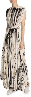 Proenza Schouler Two-Tone Pleated Wrap Dress
