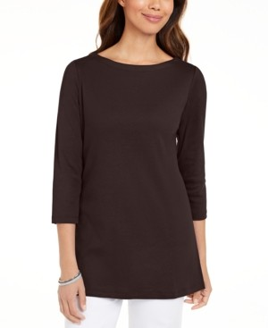 Karen Scott Plus Size Cotton Boatneck Tunic, Created for Macy's
