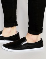Asos Slip On Plimsolls In Black With White Sole