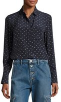 Vince Refined Dot Slim Silk Shirt, Blue