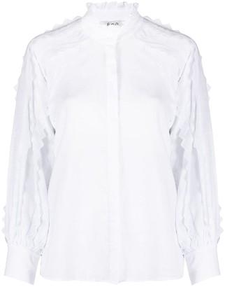 Sea Zig Zag Sleeves Detail Shirt