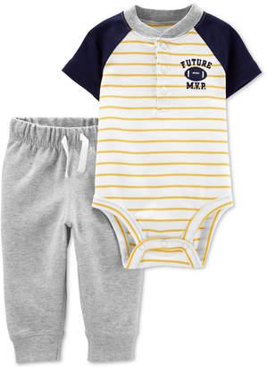 Carter's Carter Baby Boys 2-Pc. Colorblocked Bodysuit & Jogger Pants Cotton Set