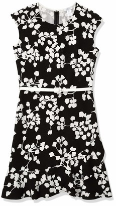London Times Women's Abstract Floral Printed Cap Sleeve Fit and Flare Black/Soft White 12