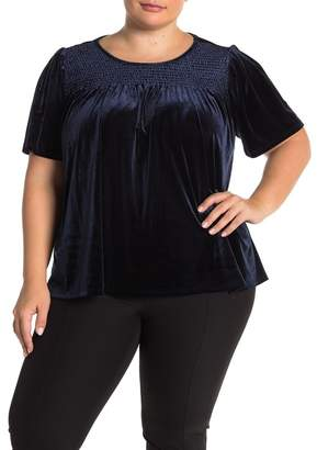 Cynthia Steffe CeCe by Smocked Velvet T-Shirt (Plus Size)