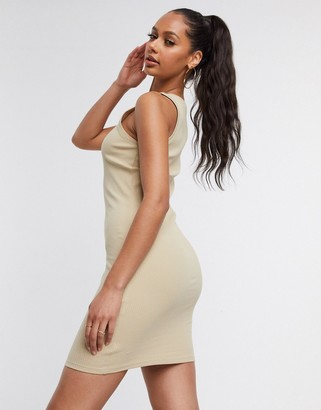 NA-KD ribbed racerback mini bodycon dress in beige