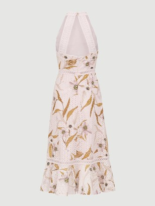 Ted Baker Cabana Lace Detail Halterneck Dress - Pink