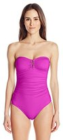 Calvin Klein Women's Bar Bandeau One-Piece Swimsuit with Removable Soft Cups