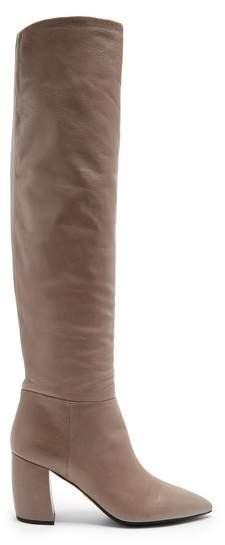Prada Point Toe Leather Knee High Boots - Womens - Grey