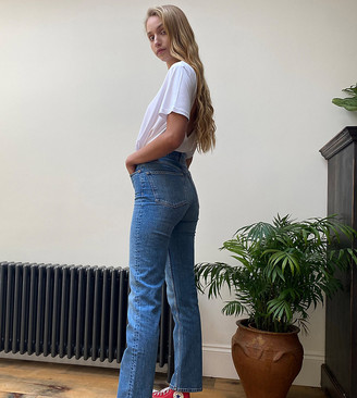 Asos Tall ASOS DESIGN Tall High rise stretch 'slim' straight leg jeans in mid vintage wash