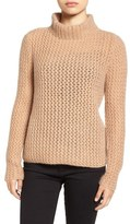 Halogen Stitch Detail Cashmere Mock Neck Sweater (Regular & Petite)