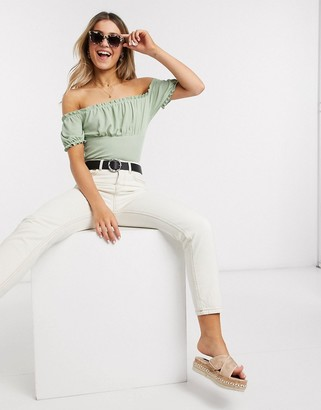 New Look ribbed milkmaid top in light green