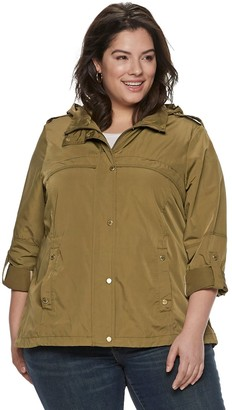 Plus Size Weathercast Hooded Roll-Tab Anorak Jacket