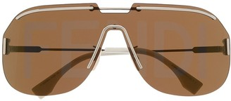 Fendi Logo-Lens Aviator Sunglasses