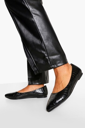 boohoo Wide Fit Croc Pointed Toe Ballet Pumps