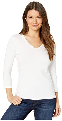 Lilla P 1x1 Rib 3/4 Sleeve V-Neck Top (Black) Women's Clothing