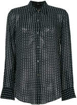 Theory polka dot print sheer shirt