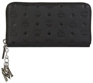 MCM Klara Zip-Around Monogram Charm Wallet