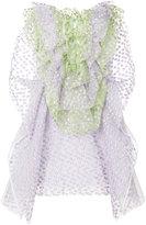 DELPOZO frilled dress - women - Cotton/Linen/Flax/Polyamide/Polyester - 38
